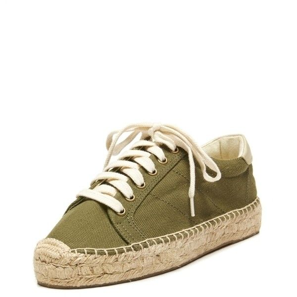 Soludos Platform Tennis Sneaker Camo (£27) ❤ liked on Polyvore featuring shoes, sneakers, platform sneakers, lace up sneakers, camo tennis shoes, olive sneakers and camo shoes