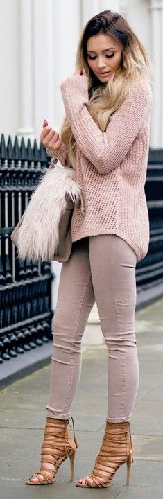 #spring #outfits  Pink Knit & Blush Skinny Jeans