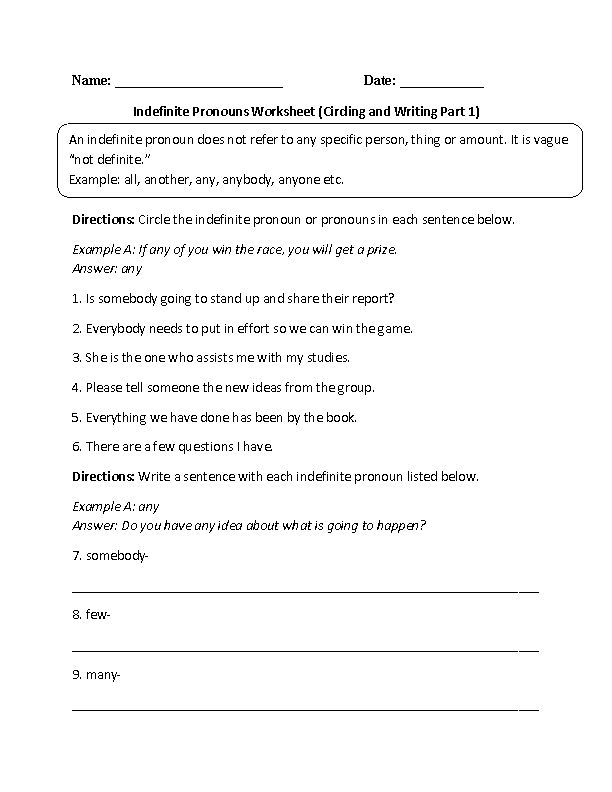 write five sentences using indefinite pronouns If you need some indefinite pronoun worksheets, here are two for you to use one is very basic and the second covered singular and plural indefinite pronouns and subject-verb agreement.
