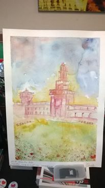 Milan Sforzesco Castle. Watercolor on paper. Given as a prize to SCABBLE contest in Milano in 2014