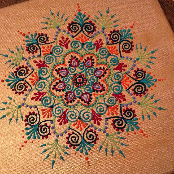 "Henna style mandala on 12"" x 12"" canvas by Henna on Hudson"