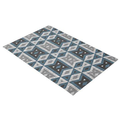 Teal Blue Gray Black Eclectic Ethnic Look Doormat - patterns pattern special unique design gift idea diy
