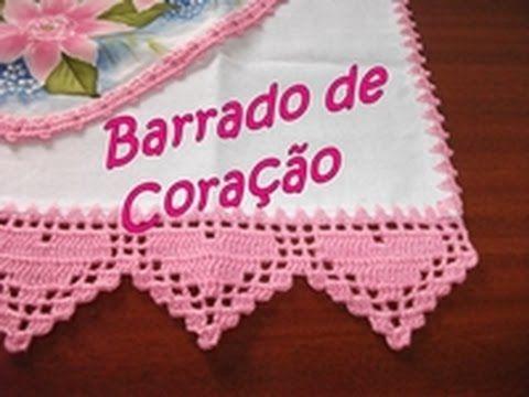 Barradinho de Crochê Corações - Wilma Crochê - YouTube