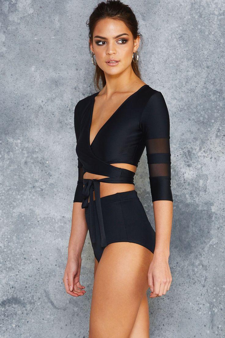 Sheer Spliced Ballet Wrap Top – PRESALE ($79AUD) by BlackMilk Clothing