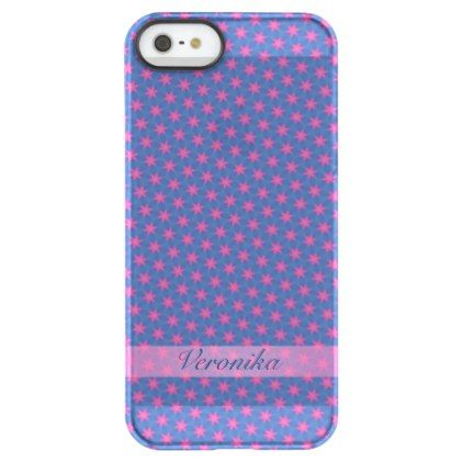 Pink stars on a blue background permafrost iPhone SE/5/5s case - girly gifts girls gift ideas unique special