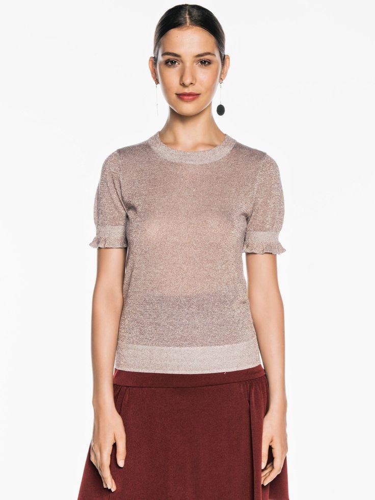 Ruffle Sleeve Lurex Knit