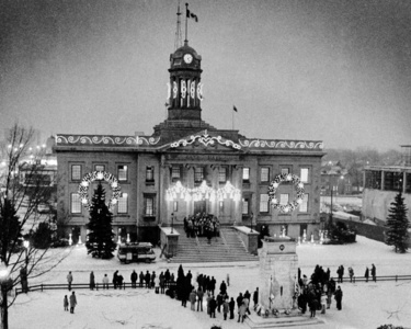 "Beautiful old city hall in Kitchener, Ontario, Canada. Sadly, it was demolished in 1973 to build a shopping mall and parking garage. The 70's were a time of ""forward thinking"". Kitchener is now desperately trying to revitalize their downtown area and bring people back from the suburbs."
