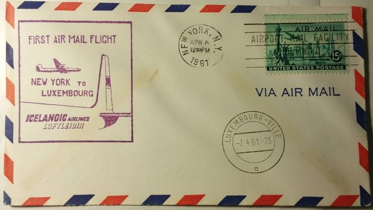 1961 ICELANDIC AIRLINES 1ST FLIGHT NY TO LUXEMBOURG.....FIRST DAY COVER
