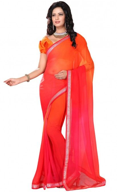 DESIGNER CHIFFON SAREE IN SEQUINS LACE BORDER WORK & DESIMGER STITCHED BLOUSE (ONE FABRIC BLOUSE).