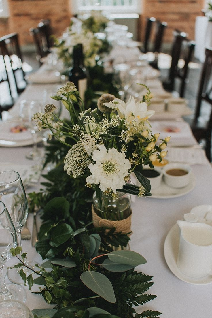 Foliage Table Runner Garland Jar Flowers Decor Centrepiece Industrial Cool Mill Greenery Wedding http://www.beckyryanphotography.co.uk/