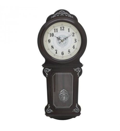 PL WALL CLOCK 'PENDULUM' BROWN 33X11X76