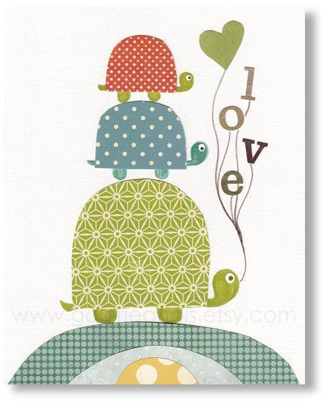 Children art - baby nursery decor - boys room - kids art - turtle nursery - bird - love - words - Love print