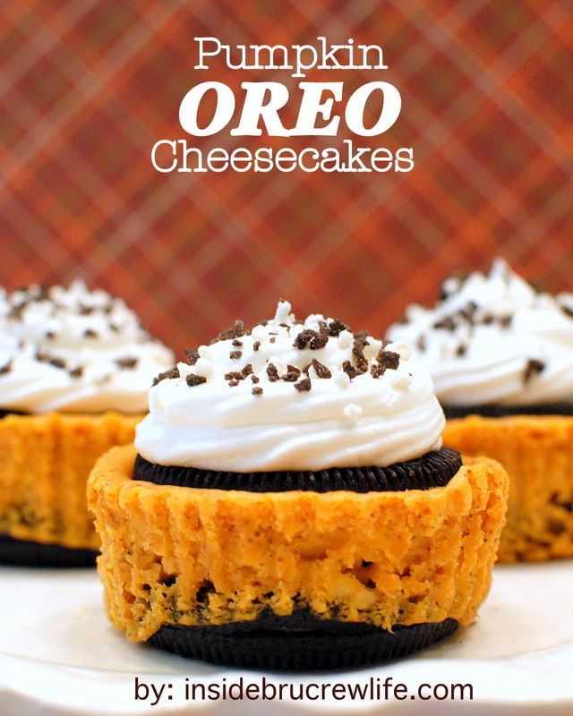 Mini pumpkin cheesecakes with an Oreo cookie bottom and an Oreo cookie top