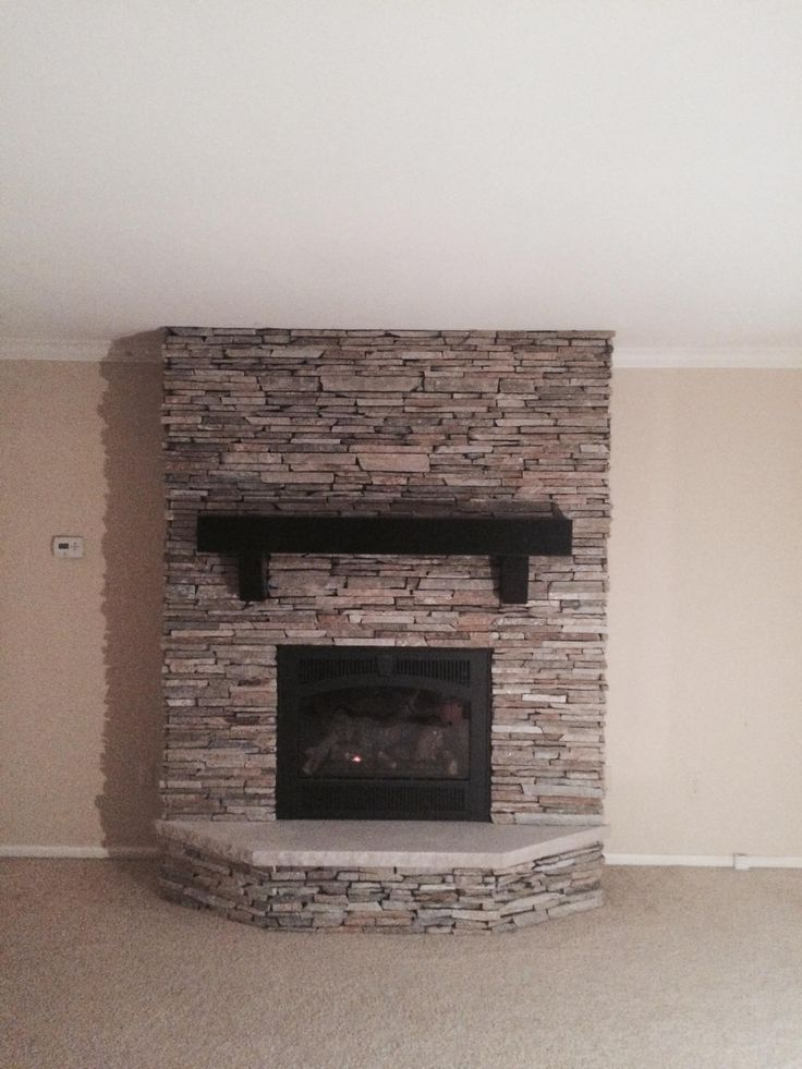 Richmond Ledgestone Natural Thin Veneer By Halquist Stone With Wood Mantel And Limestone Hearth