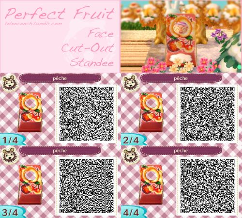 """teleoconch:  """"Perfect Fruit Face Cut-Out Standee QR Code for Animal Crossing: New Leaf  """""""