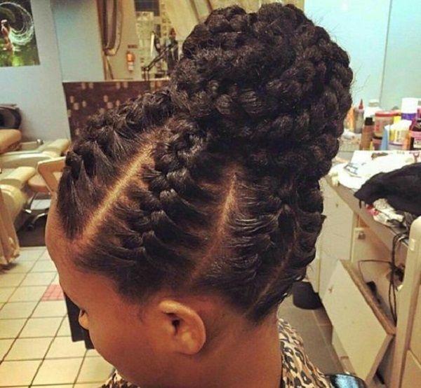 beach protective natural hairstyle braided bun
