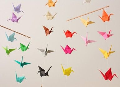 origami cranes 3d