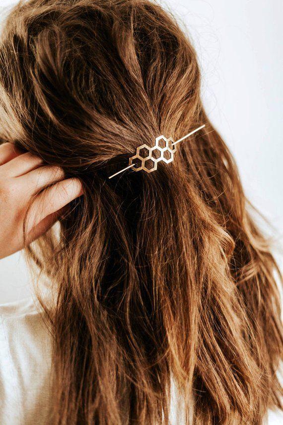 Honeycomb Hair Pin | Brass Hair Clip | Brass Hair Slide | Hair Barrette | Hair Accessories