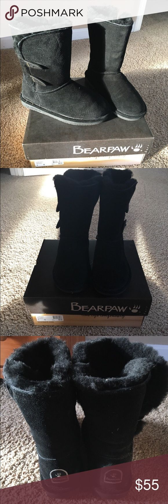 Black Bearpaw boots Black never worn Bearpaw boots. Size 6. Very warm. With box. BearPaw Shoes Winter & Rain Boots