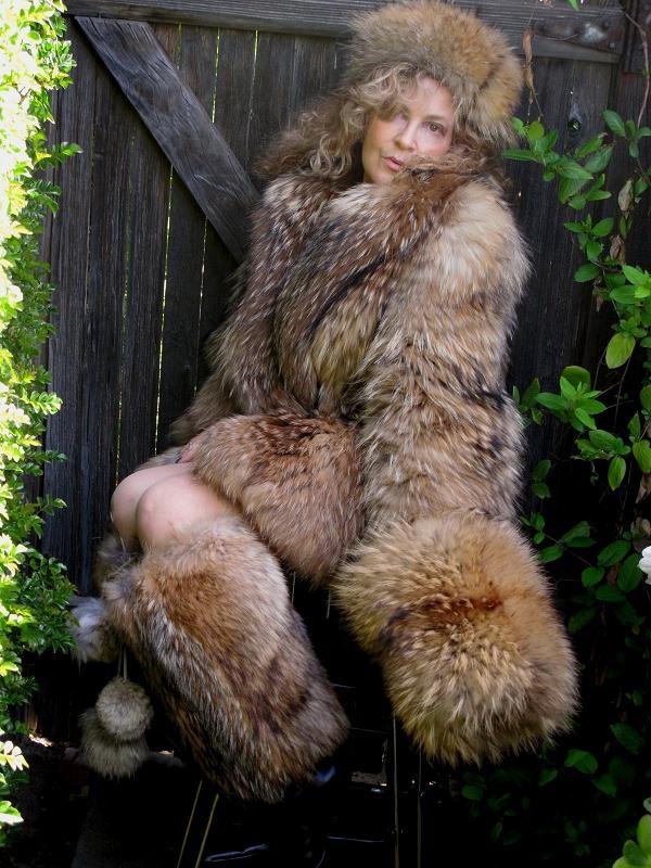 lovely raccoon coat, boots & muff