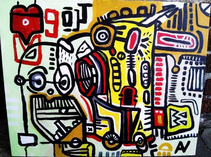 "Original Contemporary Painting ""Wheelbarrow & Bold Man"" Abstract Cubism Artist #Cubism"