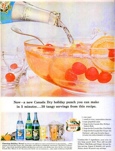 A delicious looking bowl of Canada Dry Ginger Ale based punch from 1959. #food #fruit #punch #pop #1950s #food #ads #ginger #ale