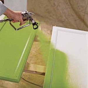 Spray paint kitchen cupboard doors for a fast face lift