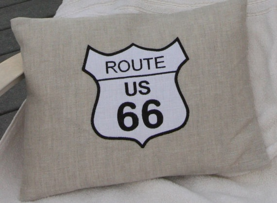 Decorative pillow cover with Route 66 sign by TheLinenLabelCompany, €55.00