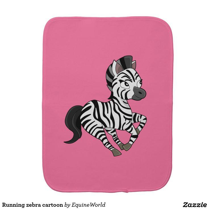 Running zebra cartoon baby burp cloths