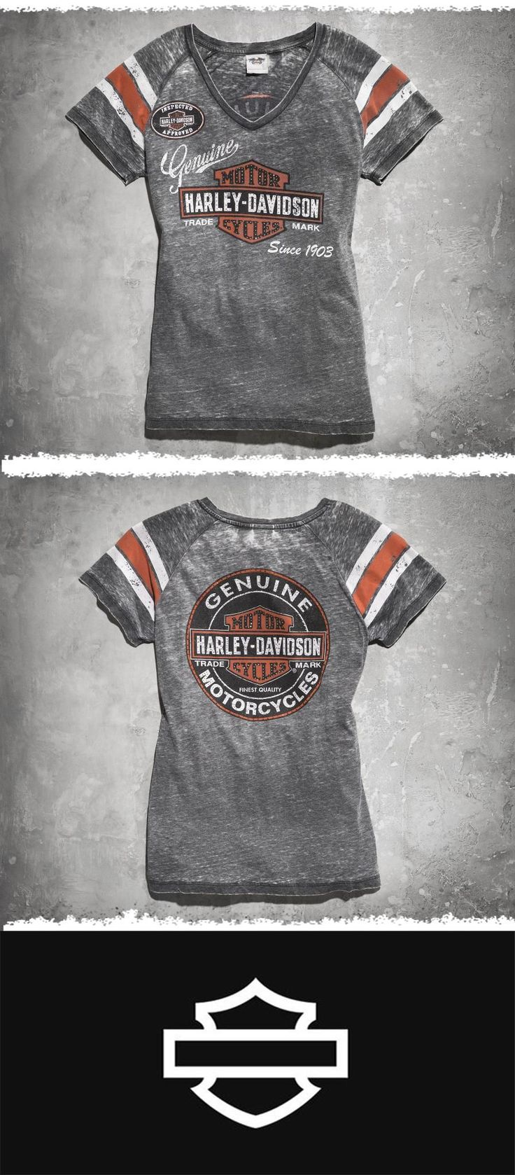 Love the worn look? Go retro. | Harley-Davidson Women's Genuine Oil Can Burnout Tee #MothersDay #harleydavidsongirlsclothes