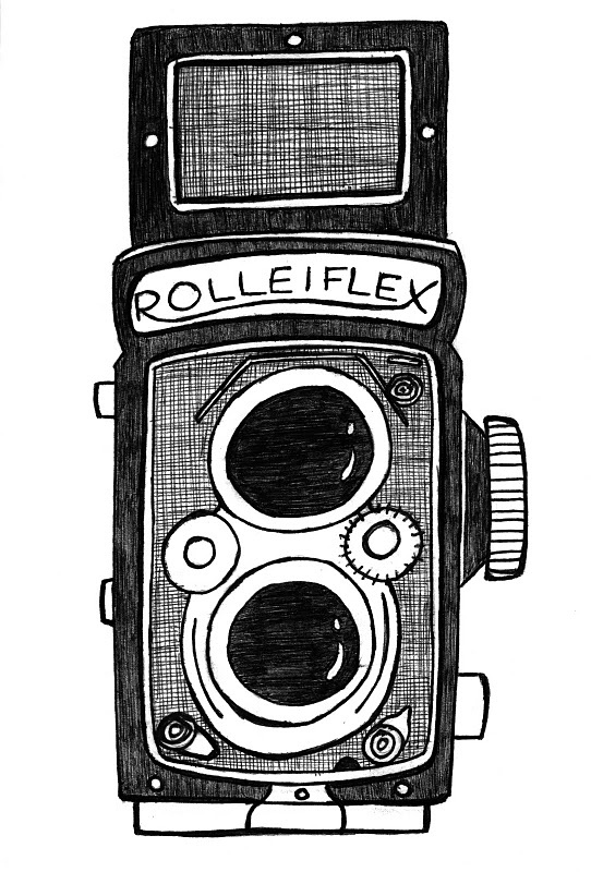 cute analog camera drawing from little blue pencil.