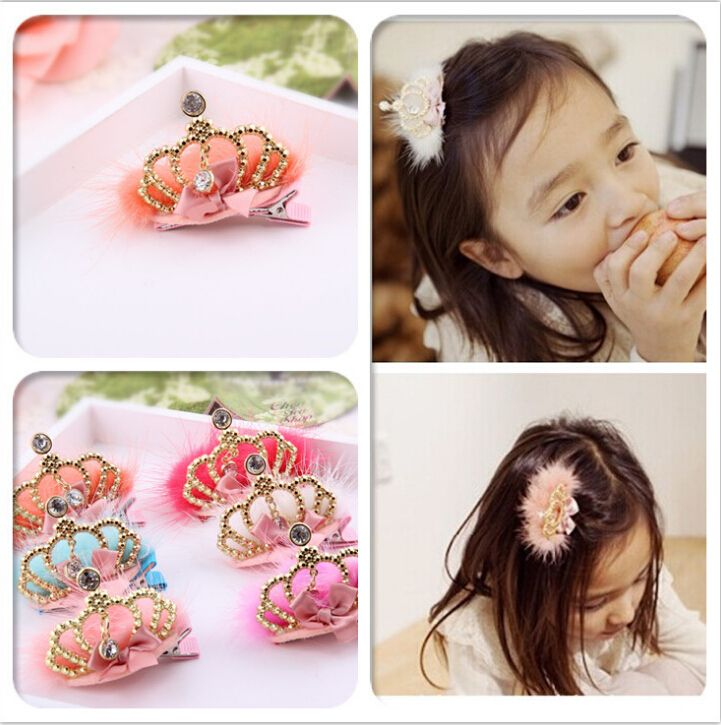 2015 New Arrival high quolity Tiaras hairpins with natural cony hair crystal metal crown hair clips for baby girls10pcs/lot