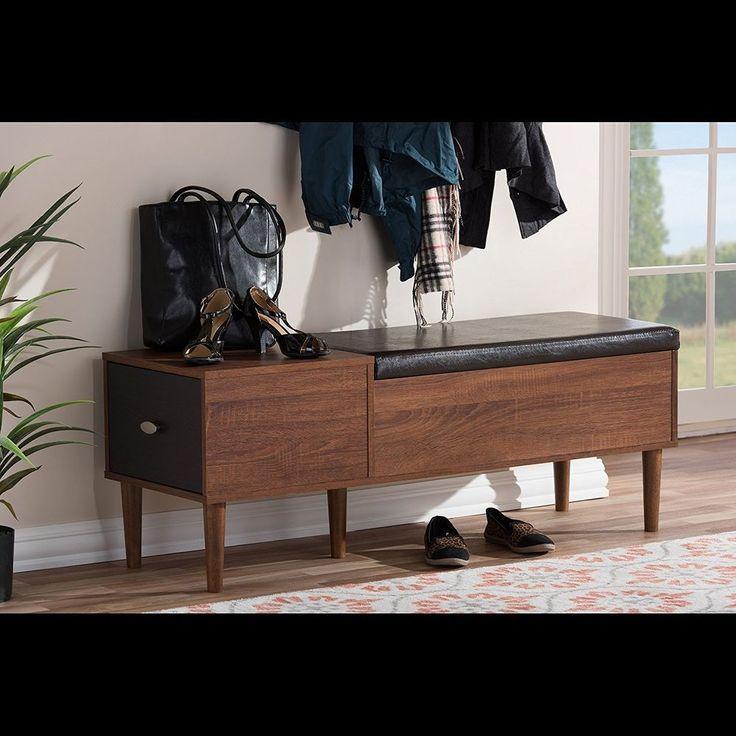 merrick mid century retro modern 1 drawer and wood cushioned bench shoe rack