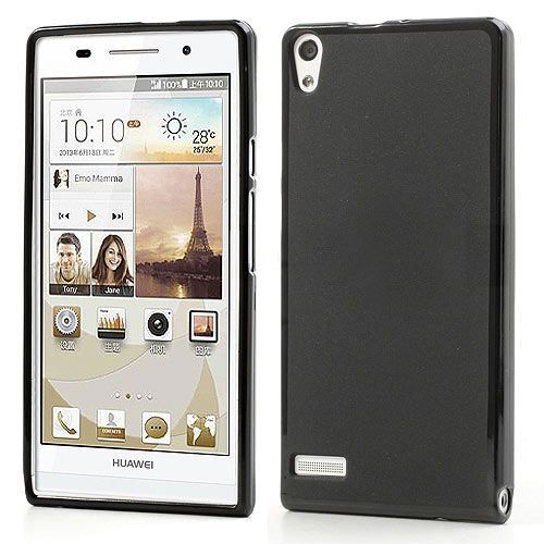 Flexibel zwart hoesje voor Huawei Ascend P6