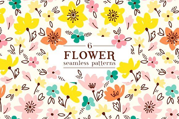 Spring flaral pattern in 6 colors by Maria Galybina on @creativemarket
