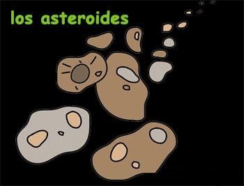 ...ADEMÁS HAY UN MONTÓN DE ROCAS (Estas rocas se llaman asteroides, y cuando caen en los planetas se llaman meteoritos. Los asteroides son más pequeños que los planetas enanos).
