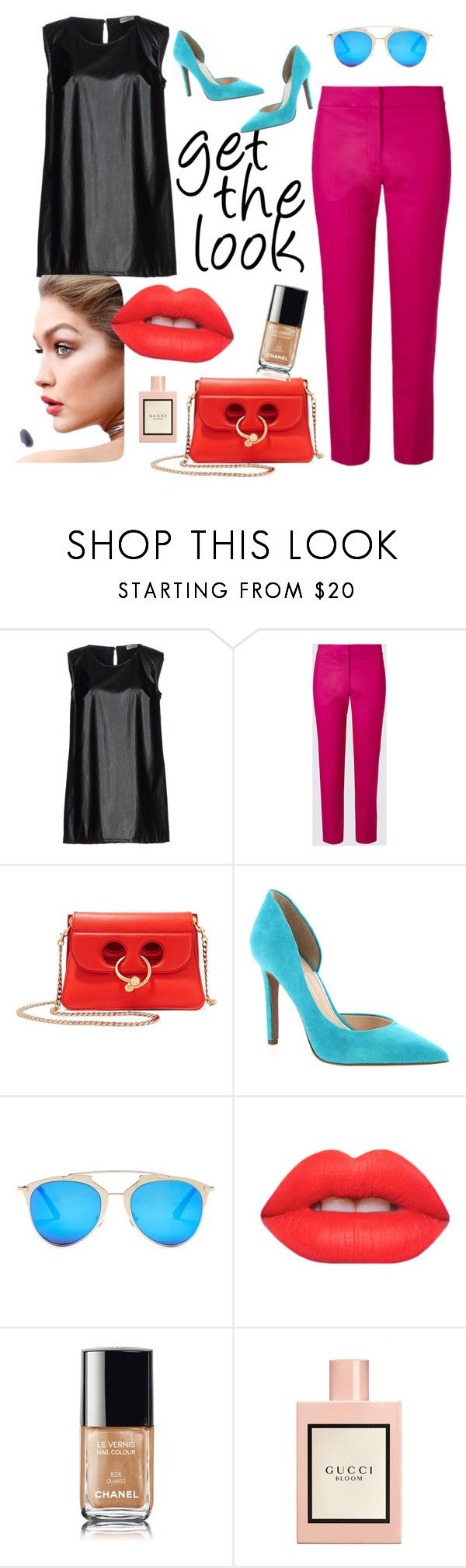 """Untitled #44"" by bebebelabee on Polyvore featuring J.W. Anderson, Jessica Simpson, AQS by Aquaswiss, Lime Crime, Chanel and Gucci"