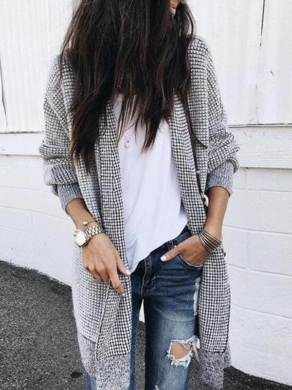 Fashion Plaids Langermet Cardigans  Fashion Plaids Long Sleeve Cardigans