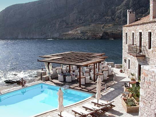 Kyrimai Hotel, in 19th century waterside customs house, Mani, Greece