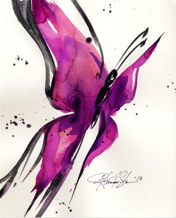 Mariposa canción 27... Pintura de ooak arte por KathyMortonStanion