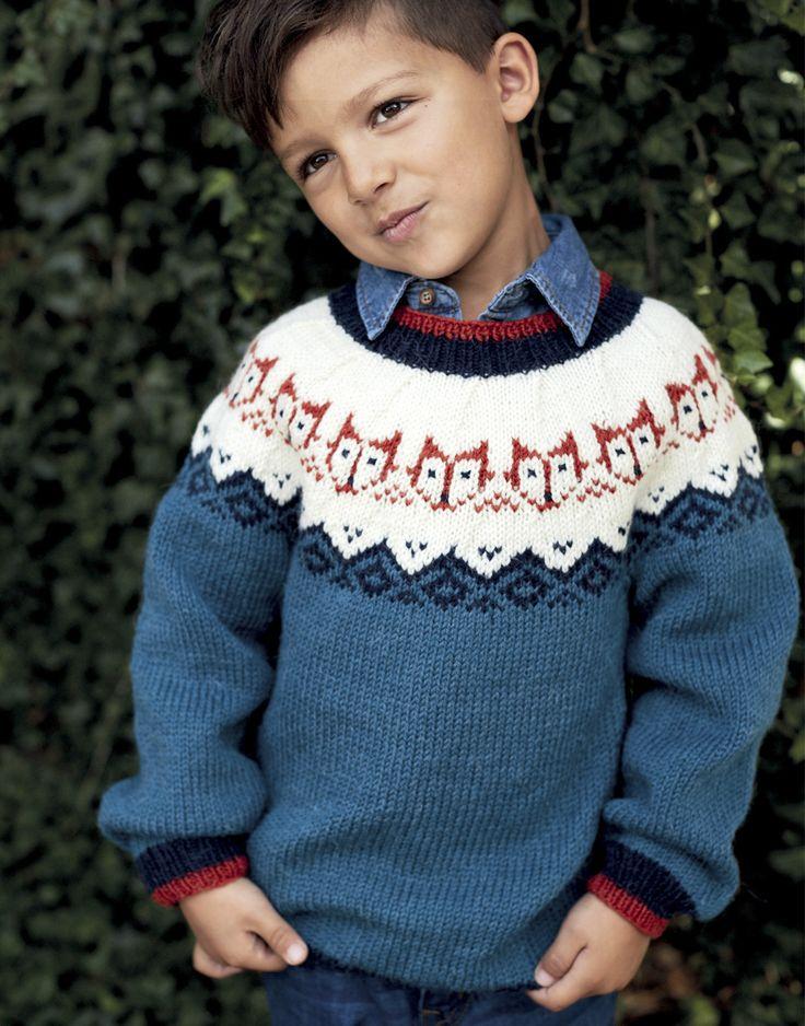 Детский джемпер с лисятами - схема вязания спицами. Вяжем Джемперы на Verena.ru