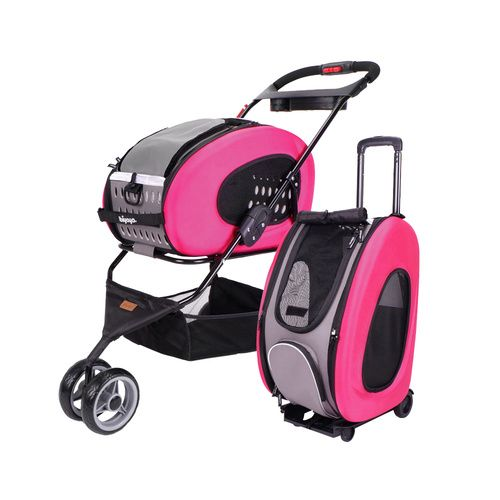 IBIYAYA 5-IN-1 COMBO EVA PET CARRIER / PRAM / STROLLER - HOT PINK