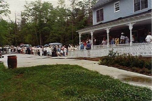 Open house at Kevin's House on July 3 and 4, 1988. Kevin's House was a home for handicapped children built by Jim and Tammy Faye Bakker and the PTL Partners. Kevin's House was run by Kevin's adoptive parents David and Ione Whittum.