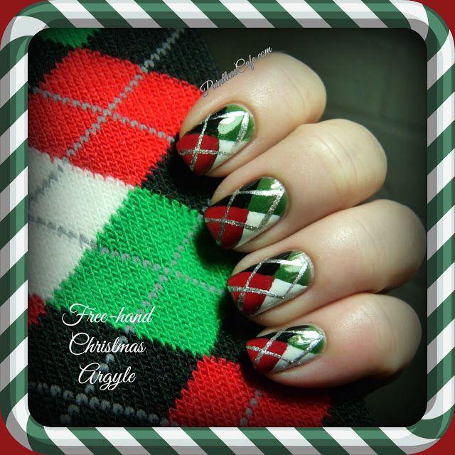 Christmas Argyle Nail Art - with Freehand Argyle Nails Tutorial