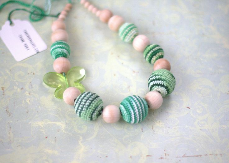 Nursing necklace, Crochet Teething Eco necklace - Babywearing accessory - Girl's jewelry by ForeverValues on Etsy