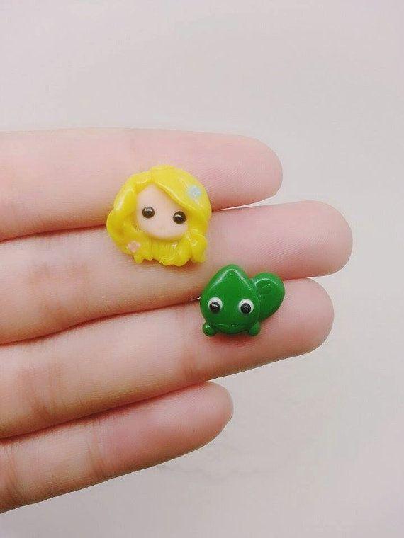 Princess Rapunzel Inspired Stud Earrings - Polymer clay Charm, Disney Earrings, Earrings, Polymer Clay Earrings, Disney Charm