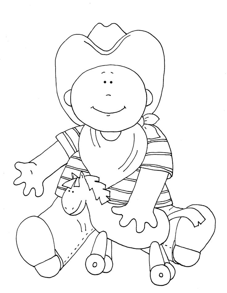 Free Digi Stamps | Free Dearie Dolls Digi Stamps: Cowboy color and B/W