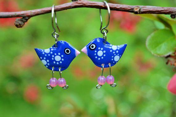 Cute enamel stainless steel navy blue dangle bird dainty design by #CinkyLinky. Enjoy more fun jewelry in our little shop on Etsy