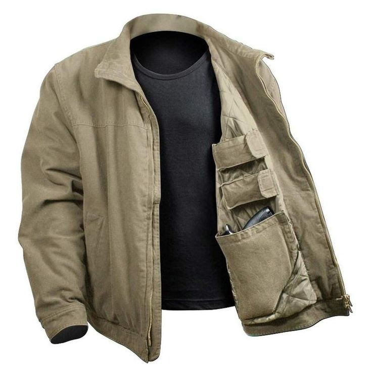 The 3 Season Concealed Carry Jacket will keep you warm from the fall to the spring season; the jacket features a washed 100% cotton outer shell and polyester in