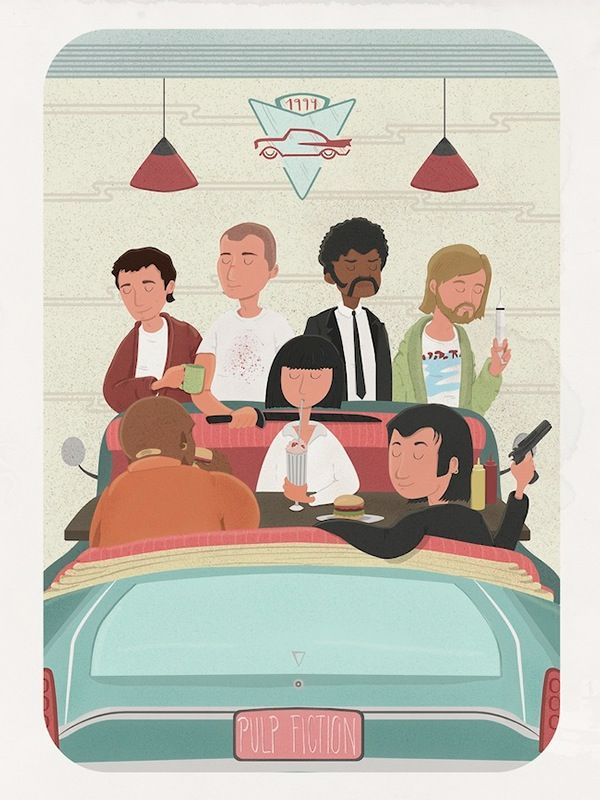 Pulp Fiction (1994) ~ Alternative Movie Poster by Maria Suarez Inclan #amusementphile